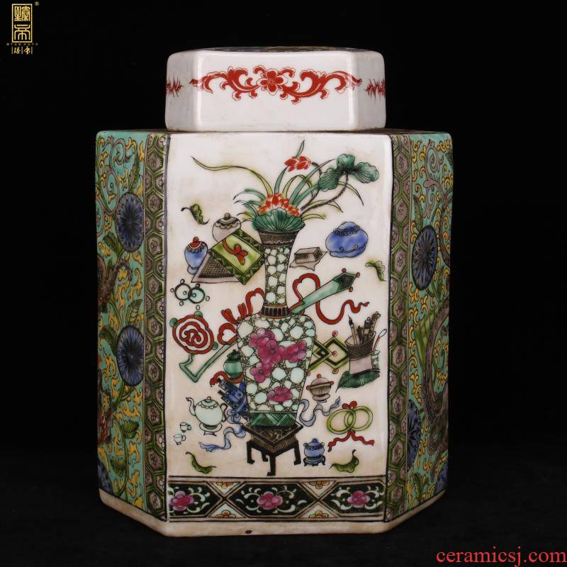 Jingdezhen imitation kangxi three British lyu3 bu4 six - party cover green enamel pot archaize play antique old favorites furnishing articles