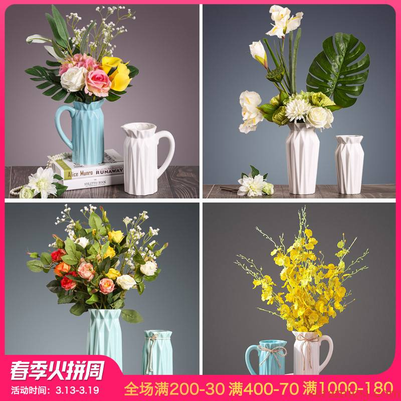 I and contracted simulation flower flower vase continental table sitting room adornment furnishing articles creative ceramic arts and crafts