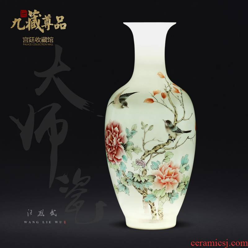 Jingdezhen ceramics hand - made powder enamel vase Chinese style living room porch TV ark, flower adornment furnishing articles