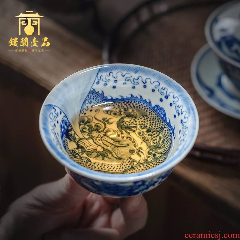 All hand - made porcelain of jingdezhen ceramics maintain dragon playing bead master cup tea cup large single cup sample tea cup