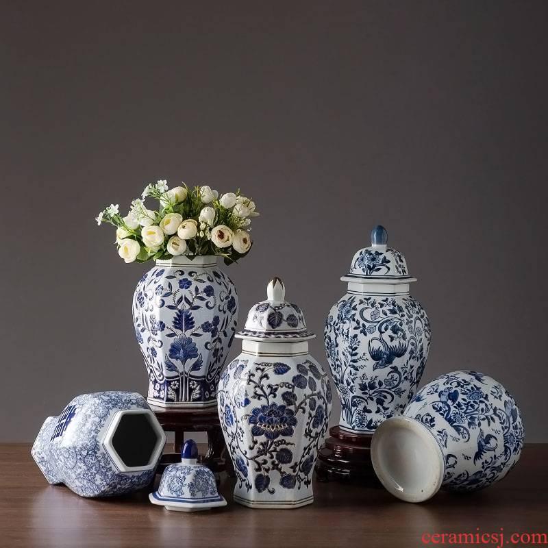 Hexagon dry flower vase of blue and white porcelain jingdezhen porcelain Chinese TV ark, decoration home decoration handicraft furnishing articles