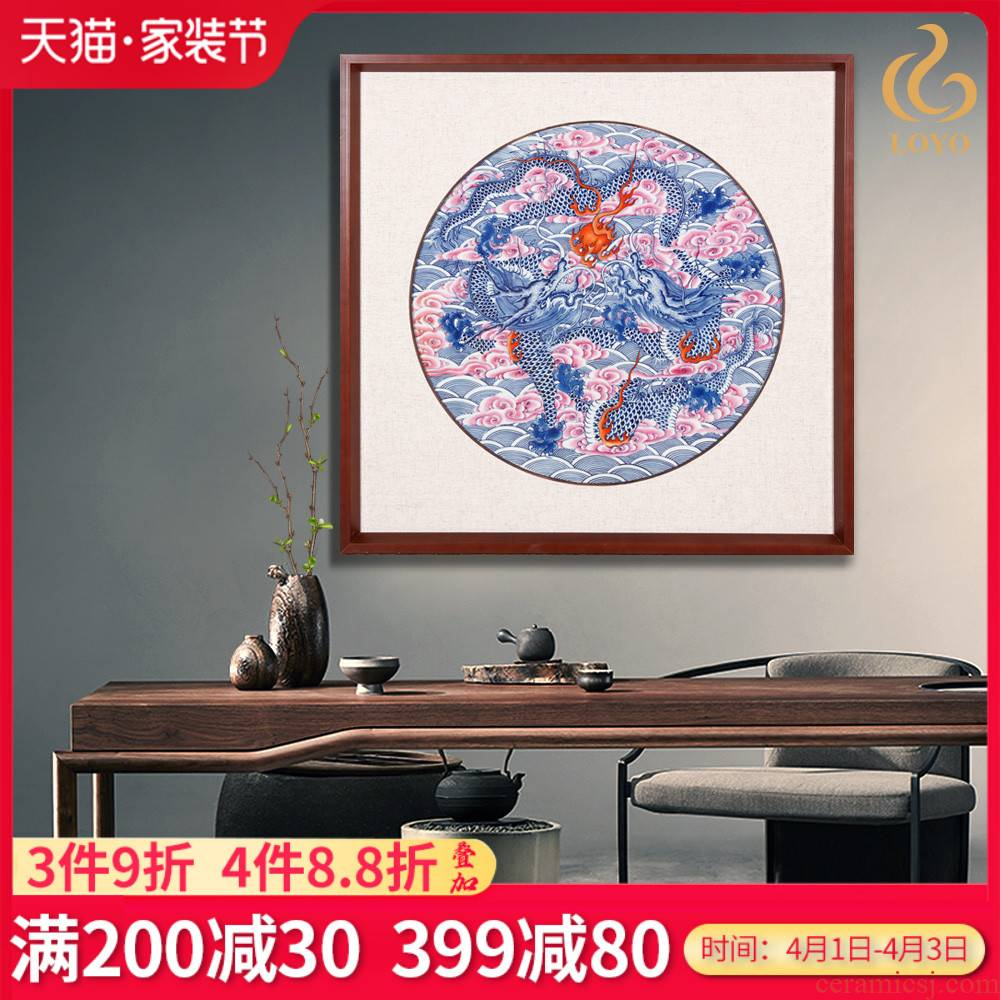 Jingdezhen ceramic plate painting masters hand - made porcelain dou dragon playing pearl decoration mural sitting room hangs a picture of the study