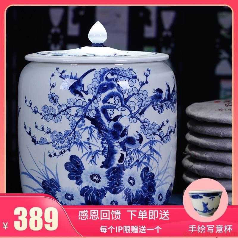 Jingdezhen ceramic hand - made pay-per-tweet tea pot large puer tea cake tea cake cylinder seal box