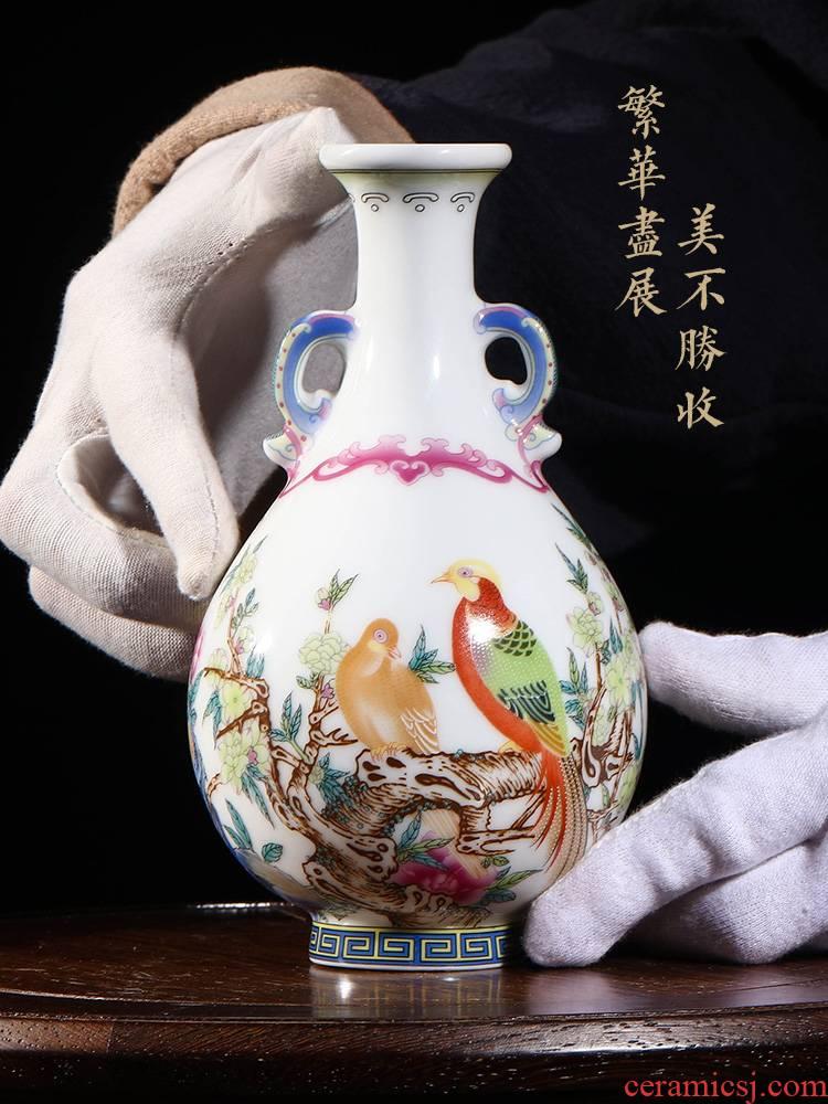 Jia YangShiQi lage jingdezhen ceramic vase peony enamel pheasants and name grain okho spring bottle furnishing articles