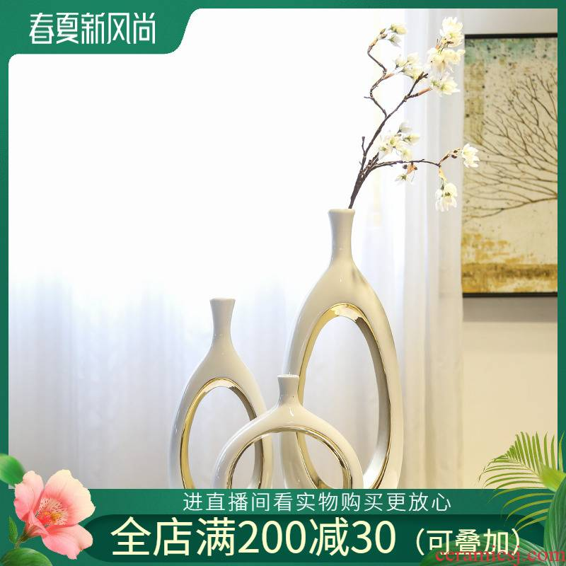 Jingdezhen mesa of new Chinese style originality furnishing articles sitting room club hotel decoration decoration flower flower implement light and decoration ceramics