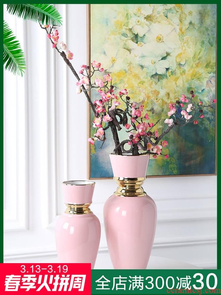 New Chinese style light key-2 luxury home decoration vase jingdezhen sitting room porch ark, ceramic restaurant mesa gold - plated furnishing articles