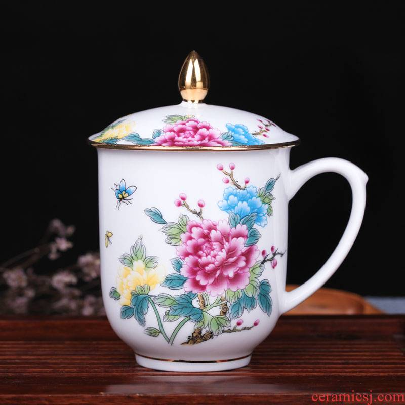 Jingdezhen ceramic cups with cover office cup hand - made paint ipads China household water cup tea cup with a gift