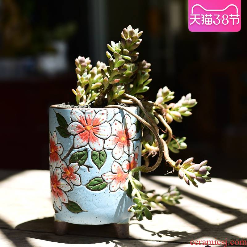 Coarse pottery flowerpot more meat hand - made ceramic creative move household clay fleshy flower pot basin of high small old from running