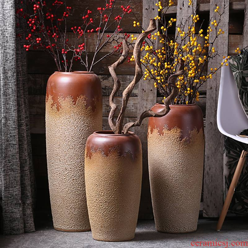 Retro vases, flower arrangement sitting room place European I and contracted coarse pottery son of jingdezhen ceramics of large vase
