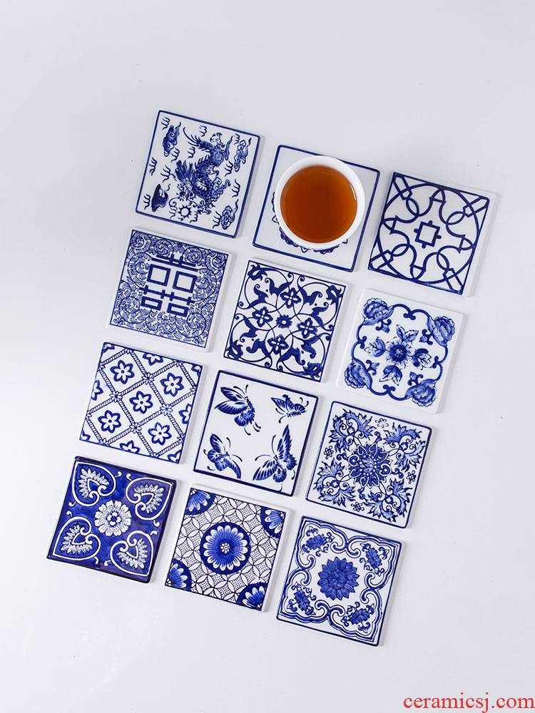 Coasters from jingdezhen ceramic plate of blue and white Chinese style restoring ancient ways coffee cup mat mat square insulating pad spare parts for the tea taking