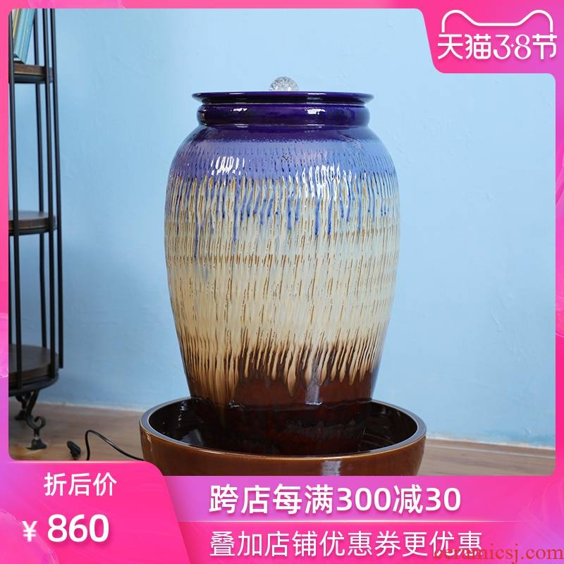 Ou jingdezhen ceramic humidifier hotel courtyard restaurant water landing glazed pottery modern waterscape