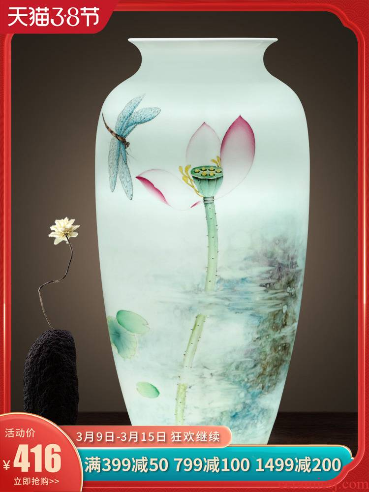 New Chinese style household flower arrangement sitting room adornment of jingdezhen ceramics vase household hydroponic furnishing articles TV ark