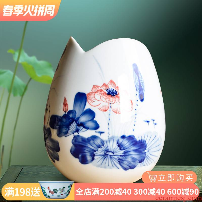 Blue and white porcelain jingdezhen ceramics hydroponic floret bottle of flower arranging hand - made lotus furnishing articles home sitting room adornment