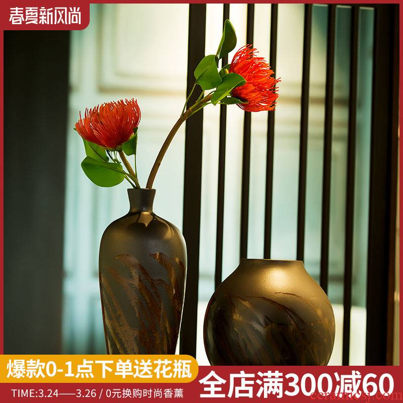 New Chinese style ceramic vase furnishing articles sitting room dry flower arranging flowers, flower POTS restoring ancient ways mesa adornment floral arrangements