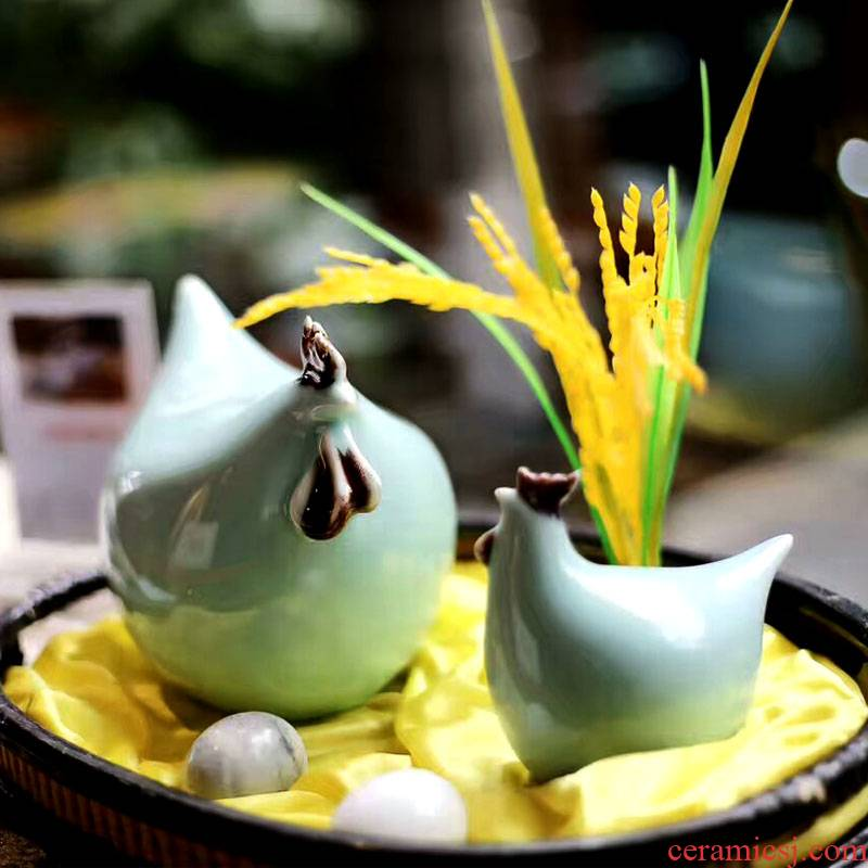 Jingdezhen ceramics craft ceramic chicken auspicious zoo porcelain ceramic household soft outfit desktop furnishing articles
