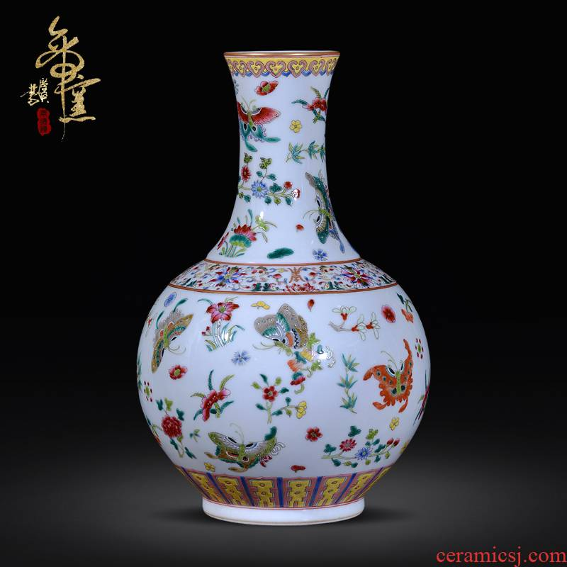 The Qing qianlong hand - made jingdezhen ceramics powder enamel vase best butterfly tattoo new Chinese style living room handicraft decorative furnishing articles