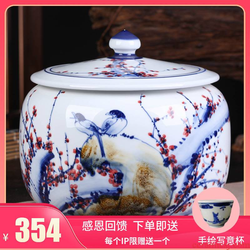 Jingdezhen ceramic bread seven pu 'er tea pot large tea POTS sealed as cans of tea cake tin box