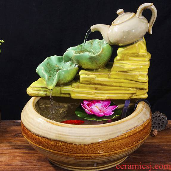 Chinese ceramic water fountain furnishing articles money sitting room feng shui round ball tank waterscape humidifier adornment ornament