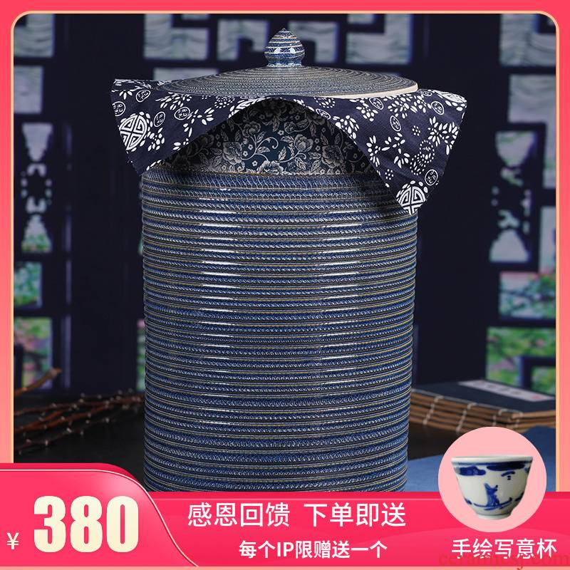 Jingdezhen ceramic seal caddy fixings large sealed container pu 'er tea as cans ceramic household gift box packaging