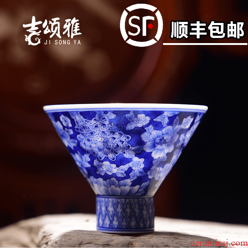 Jingdezhen ceramic cups heavy work blue hat to full cup of kung fu tea cups sample tea cup flower of blue and white porcelain cup