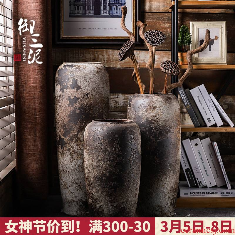 Ground vase large rural Chinese style restoring ancient ways is inserted dried flowers coarse pottery sitting room hotel villa clay ceramic furnishing articles