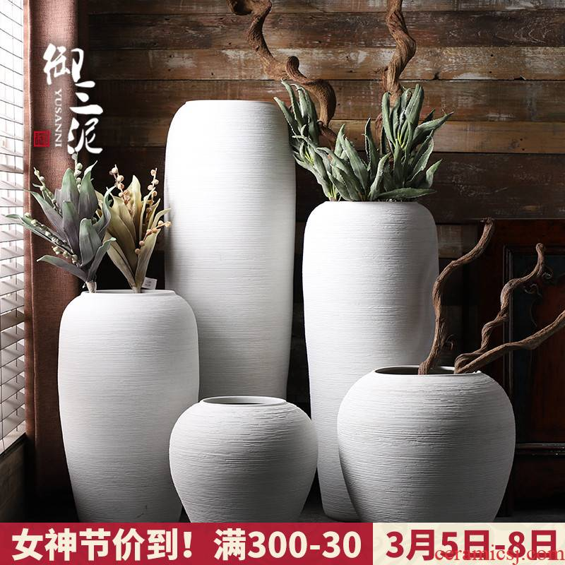 Jingdezhen ceramic big vase Nordic dried flower arranging flowers sitting room adornment is placed I and contracted white clay landing