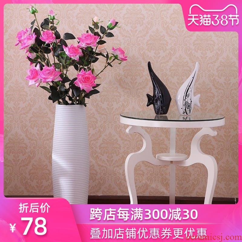 Art show contracted and modern European style living room white jingdezhen ceramics high landing big vase lucky bamboo vase