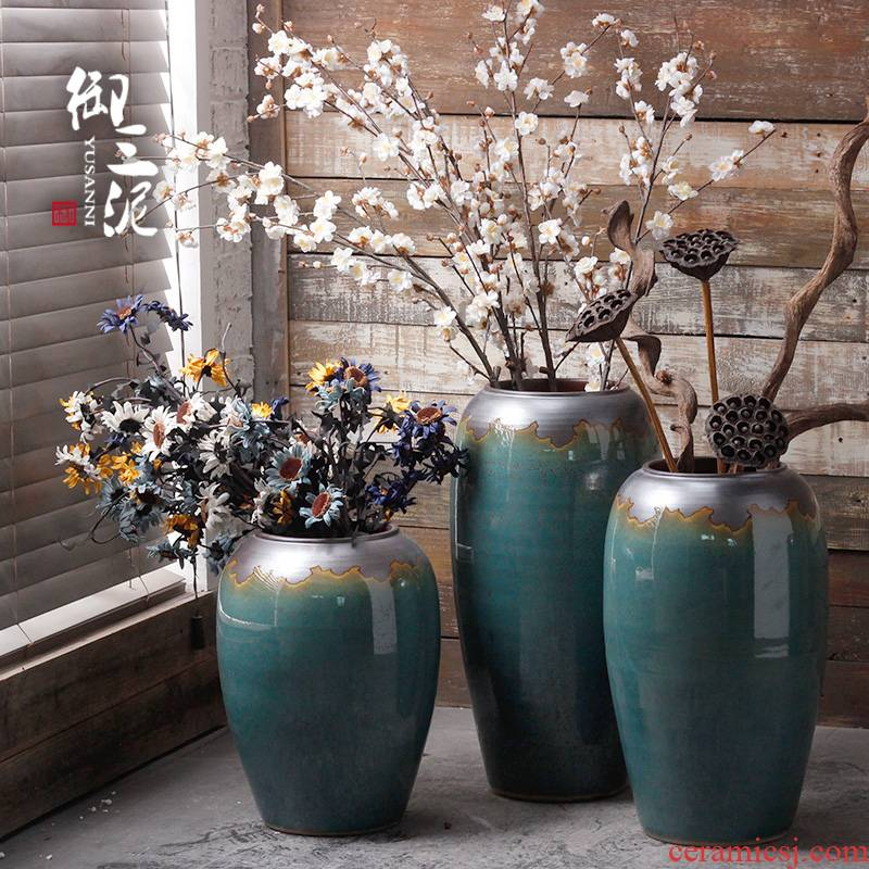 The sitting room is contracted and I ceramic vase American landing European ikebana furnishing articles hydroponics simulation flower decoration