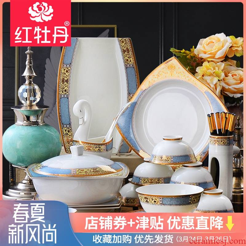 Tangshan top grade dishes suit household Nordic bowl combined ipads porcelain plate suit European light spring of key-2 luxury dining utensils
