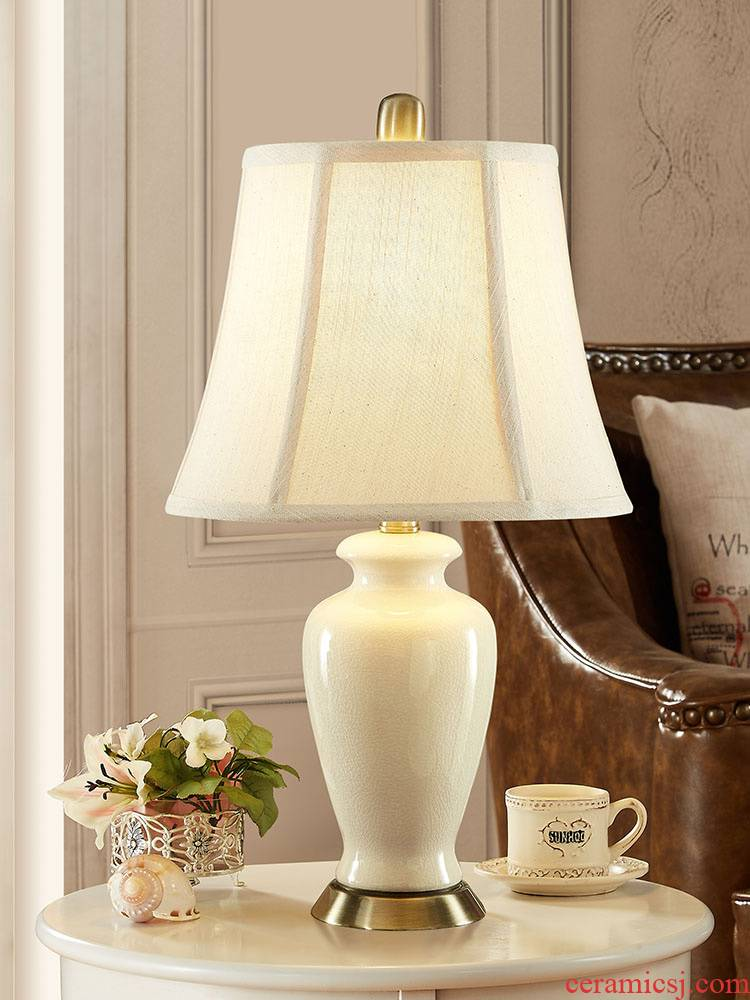 Eden hui ceramic desk lamp bedroom berth lamp of jingdezhen large American contracted study lamp button switch