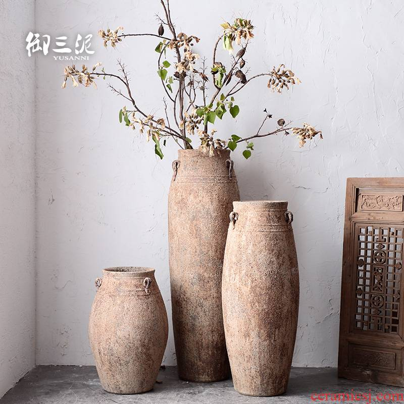 Southeast Asia wind restoring ancient ways furnishing articles big big flower implement flowerpot decorations coarse pottery Mediterranean French vases, pottery