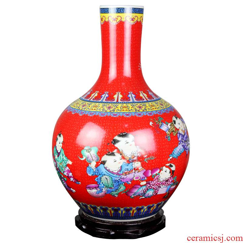 Jingdezhen ceramics China red large vases, flower arranging household adornment handicraft furnishing articles large living room