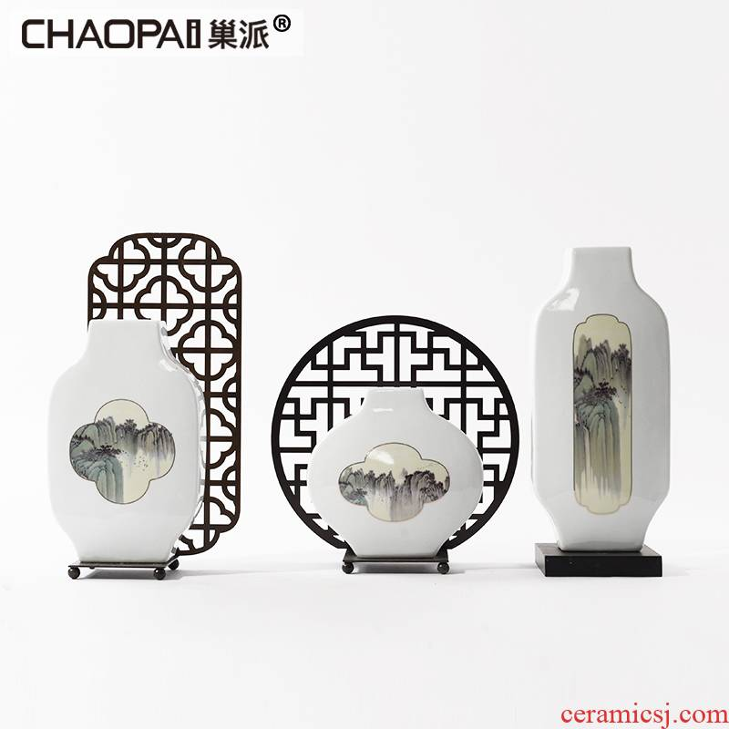 The New Chinese zen zen ceramic decoration creative flower vases, flower implement the sitting room porch modern furnishing articles ornament