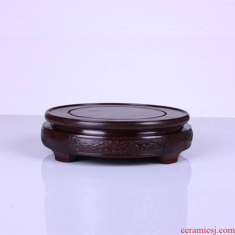 Base with black catalpa wood are it stone flowerpot vase crafts round red solid Base of woodcarving figure of Buddha