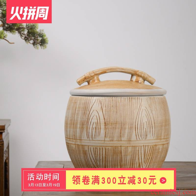 Jingdezhen ceramic barrel 10 jins 20 jins with cover 30 kg rice storage box imitation wood grain rice such as pot seal ricer box