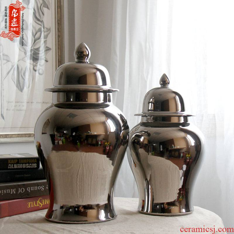 Jingdezhen ceramic general tank silver pot - bellied storage tank villa home sitting room adornment flower vase furnishing articles