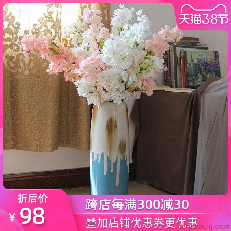 Art show vase color glaze ceramic vases, flower vase sitting room American country ground vase furnishing articles