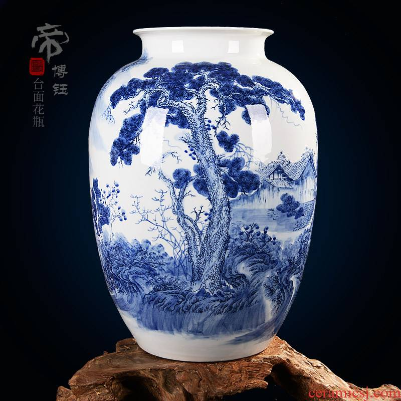 The Master of jingdezhen ceramics hand - made scenery of blue and white porcelain vase Chinese style living room TV cabinet decorative furnishing articles arranging flowers