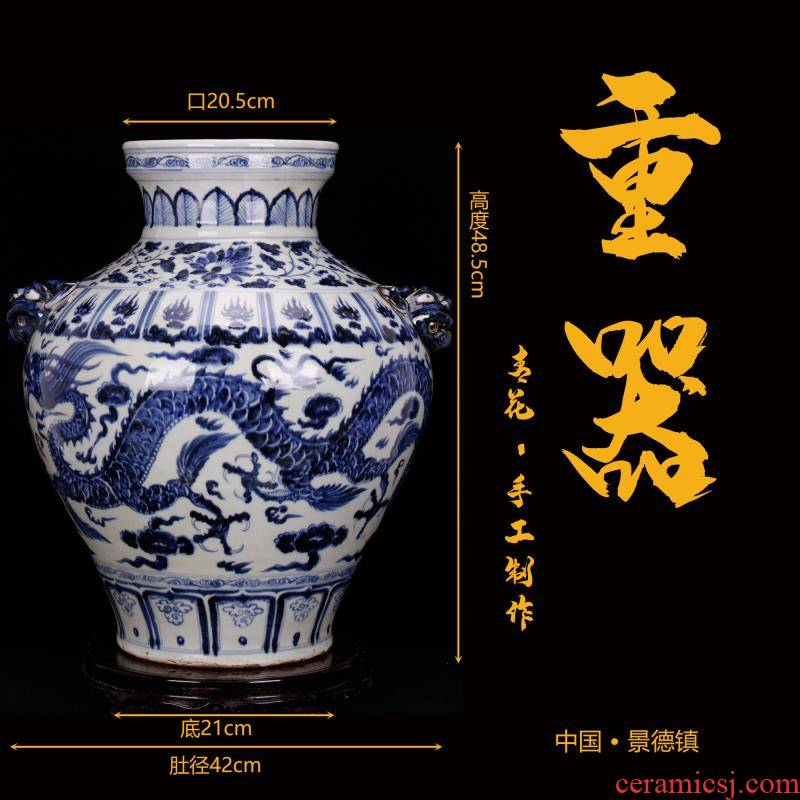 Jingdezhen blue and white YunLongWen antique porcelain pure checking tiger tank antique reproduction antique old goods furnishing articles