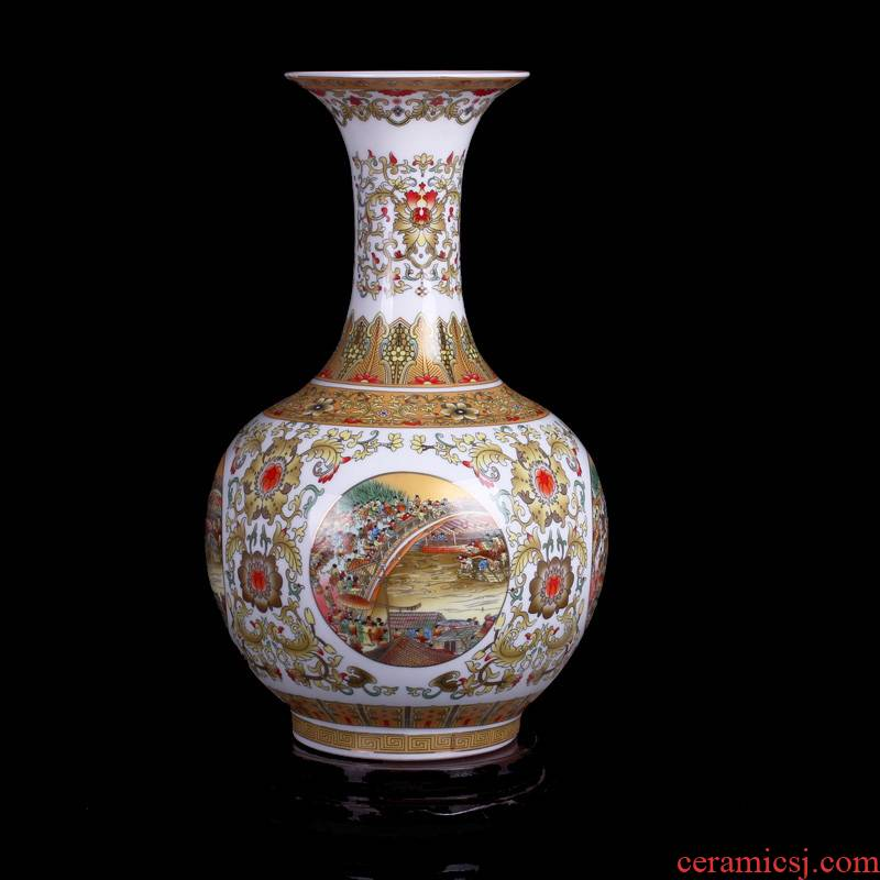 Qingming scroll classical jingdezhen ceramics vase classical Chinese style household adornment handicraft furnishing articles