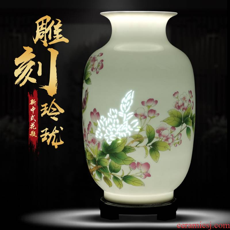 Jingdezhen ceramics and enamel vase flower arranging new Chinese style household rich ancient frame sitting room adornment is placed