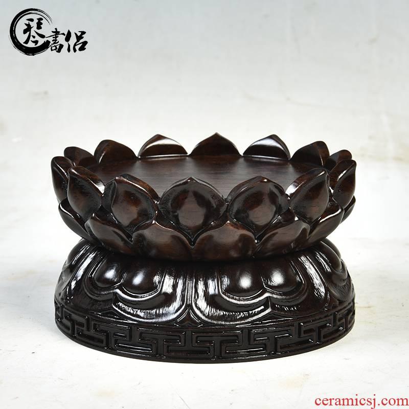 Ebony wood carving handicraft furnishing articles bodhisattva guanyin Buddha base rounded copy antique solid wood lotus base
