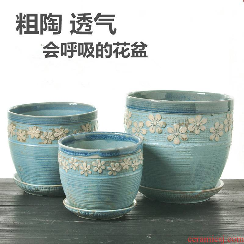 Flowerpot ceramic sale household clearance large coarse pottery creative move with tray flower pot in other contracted more than meat