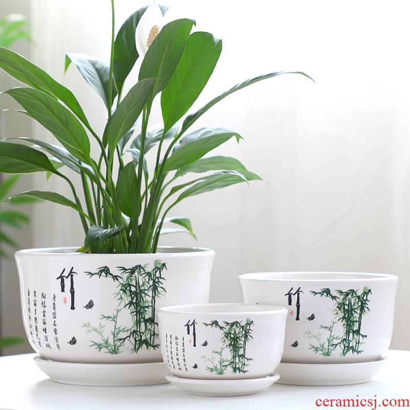 Flowerpot ceramic large Chinese wind special offer a clearance take tray was more creative money plant contracted individuality bracketplant, the Flowerpot