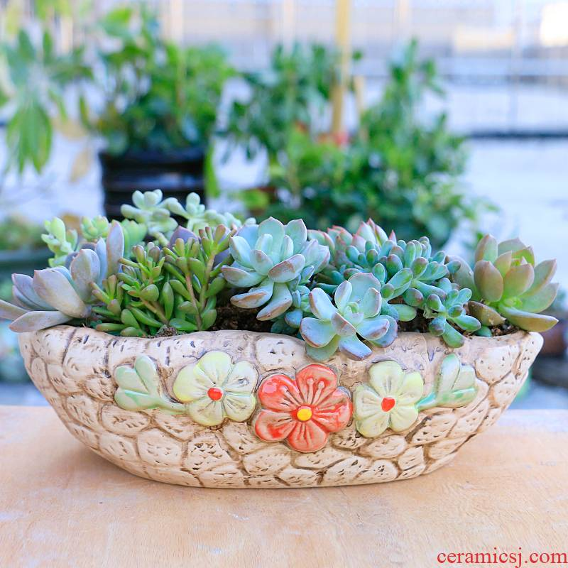 Large caliber flowerpot coarse pottery meaty plant flowerpot ceramic platter combination of creative move, fleshy special offer a clearance