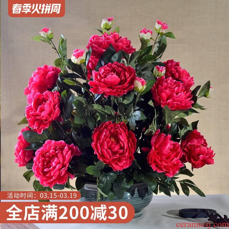 Large wedding housewarming celebration floral coarse pottery vase peony simulation finished furnishing articles suit household decorative flower flower