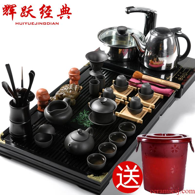 Hui make purple sand tea set tea service of a complete set of induction cooker four one solid wood tea tray was kung fu tea set