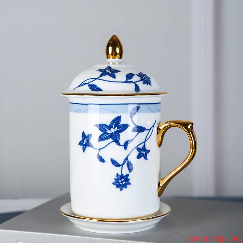 Song dynasty jingdezhen modern office contracted the see colour of blue and white porcelain cup high - end ceramic cups business gifts