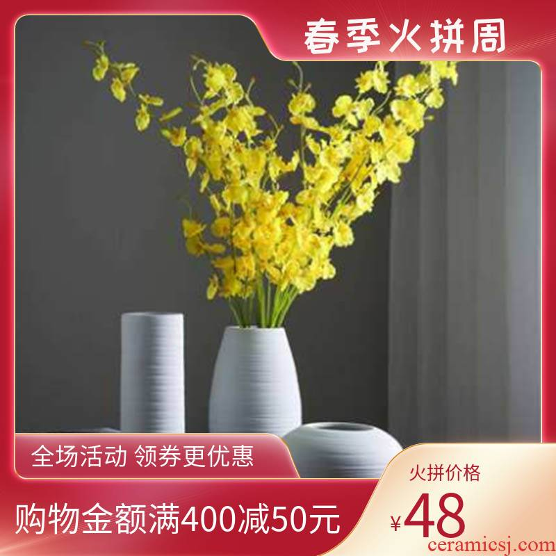 Jingdezhen ceramics art three - piece white vase Europe type dry flower is placed in the sitting room household ornaments