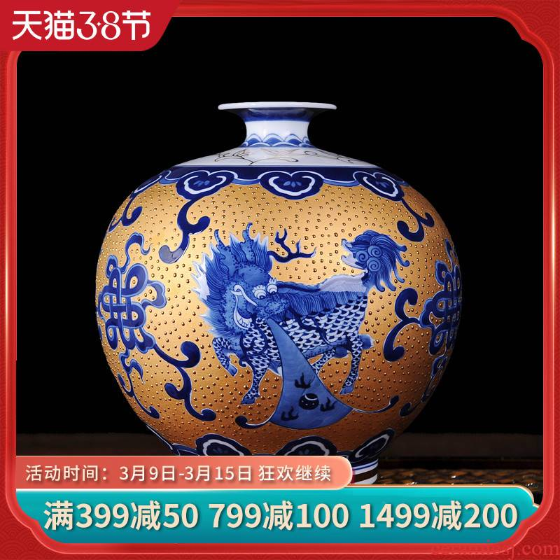 Jingdezhen ceramics gold kirin blue and white porcelain vase spit bead modern fashionable sitting room adornment is placed the process